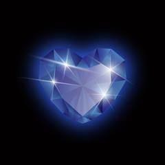 diamond heart shape on a black background, vector format