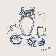 Vector ink hand drawn set of dairy products. Milk, cottage cheese, butter and lettering. vintage sketch illustration for recipe, print.
