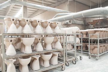 ceramic factory closet washbasin raw unbaked