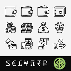 A quality set of icons related to money (exchange, payment, maintenance) and currency symbols.