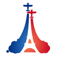 Logo in the form of flying sport aircraft at an air show with the silhouette of the Eiffel tower and the symbolism of the French flag. Bastile Day