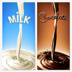 Realistic splash flowing milk and chocolate (cocoa) in the blue and brown background. Isolated vector design elements
