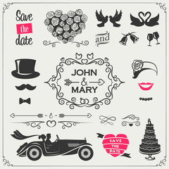 Vector set of wedding icons and elements for the invitations, banners and signs (arrows, hearts, wreaths, ribbons, labels and other elements)