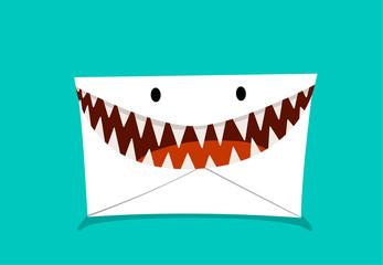 Phishing Mail in monster style, vector