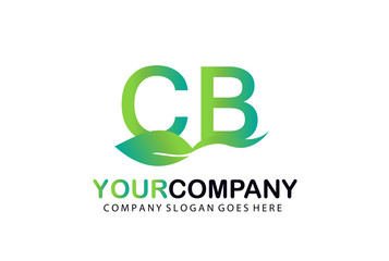 CB Green Leaf Letters Logo Design