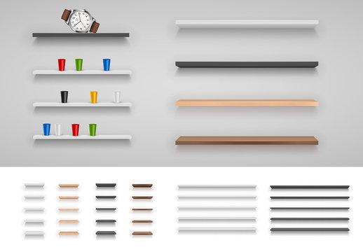 Metallic and Wooden Shelf Set 1
