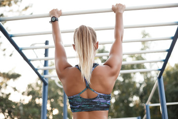 Woman training outdoors