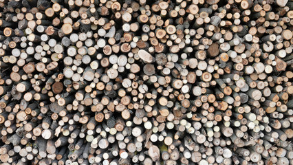 Clefs neatly prepared firewood stack