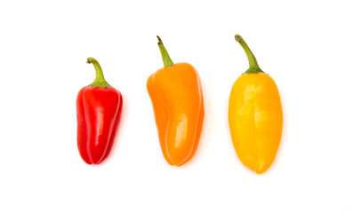 Canvas Prints Hot chili peppers Small Sweet Peppers Isolated on a White Background