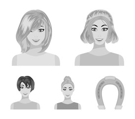 Types of female hairstyles monochrome icons in set collection for design. Appearance of a woman vector symbol stock web illustration.