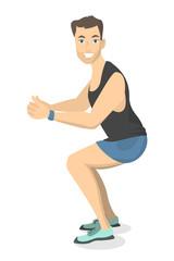 Man doing squats.