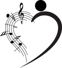 dancer and music note design
