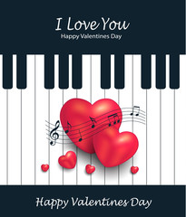 Heart piano greeting card music Valentines day vector