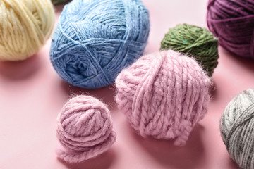Knitting threads on color background