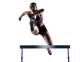 one african runner running hurdlers hurdling  woman isolated on white background silhouette