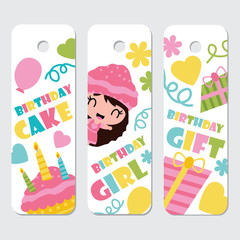 Cute girl, cupcake, birthday cake and gift vector cartoon illustration for Birthday label tags design, postcard and sticker set