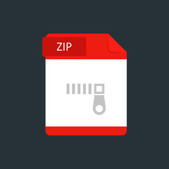 ZIP file type icon. Vector illustration isolated on a dark blue background