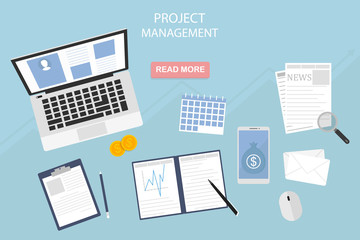 Flat design of modern vector illustration of project management concept - eps10, own business and finance