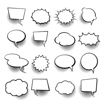 Empty comic collection trendy cloud pop art vector comic box. Comics book background template. Vector illustration