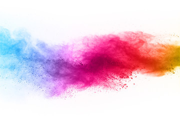Launched colorful dust, isolated on white background.