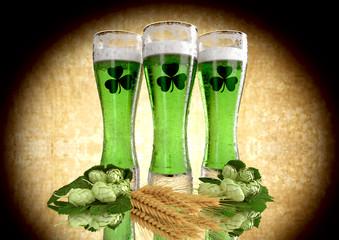 St Patrick's Day concept, green beer, shamrock. 3D render