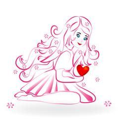 Little girl with a heart logo vector