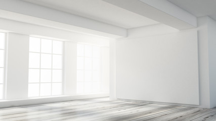 White interior room. 3d illustration, 3d rendering.