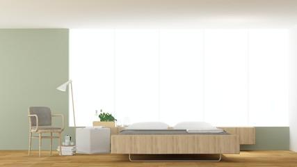 The interior hotel bedroom minimal space - 3d rendering