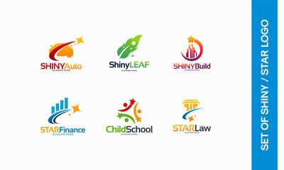 Shiny Automotive logo, Shiny Leaf symbol, Shiny Building logo, Star Finance, Child School, Star Law logo designs concept vector