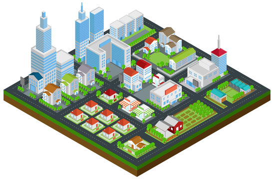 Graphic city building, real estate, house and cityscape architecture and nature environment in 3D isometric design in isolated background, create by vector