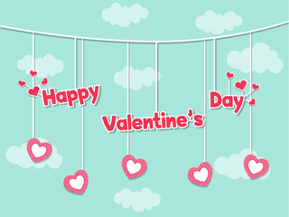 Happy Valentines day card with lovely congratulation and heart on cute Color background. Holiday decoration element. Vector illustration