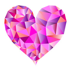 Isolated polygonal heart in pink tones - Eps10 vector graphics and illustration