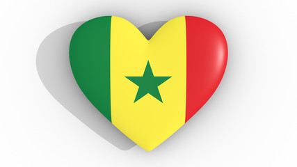 Heart in the colors of Senegal flag, on a white background, 3d rendering top.