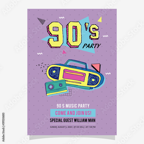 S Party Memphis Poster Card Or Invitation Template Stock Image - 90s party invitation template