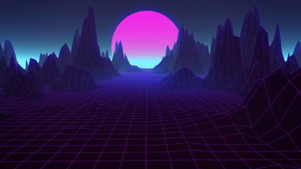 80s Retro Scifi Synthwave Background 3D Illustration