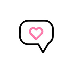 Heart in speech bubble icon Vector illustration, EPS10.