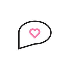 Heart in speech bubble icon Vector illustration, EPS10.