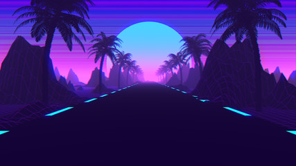 80s Retro Scifi Synthwave And Outrun Background 3D Illustration