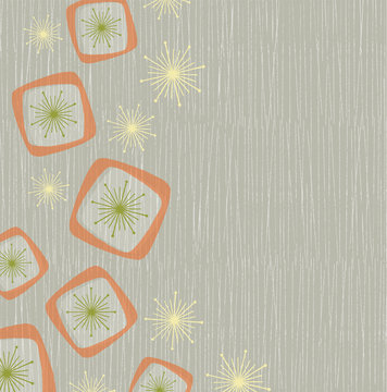 Vintage style background of atomic stars and boxes on a grunge line background. Inspired by mid-century modern design
