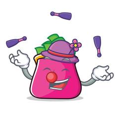 Juggling purse character cartoon style