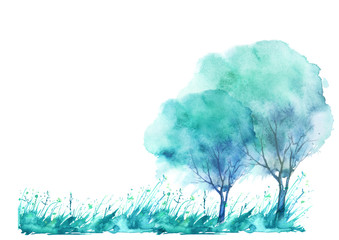 watercolor linear pattern with a pattern of summer, spring landscape, grass, blue tree, wind. On a white background. Art illustration, border