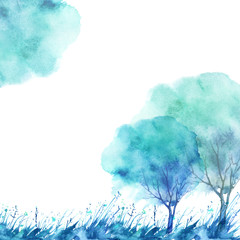 Watercolor postcard with a picture of a tree, grass, wild plant. Blue and green on a white background.