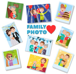Family photos set, portraits of family members, best memories on pictures of several generations vector Illustration