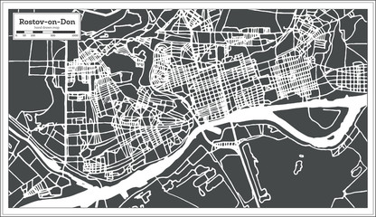 Rostov on Don Russia City Map in Retro Style. Outline Map.