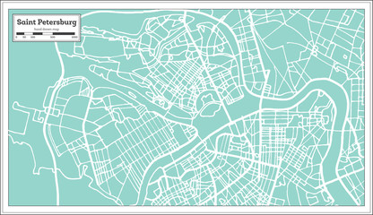Saint Petersburg Russia City Map in Retro Style. Outline Map.