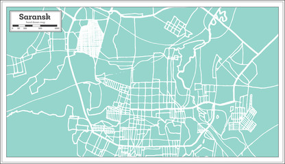 Saransk Russia City Map in Retro Style. Outline Map.