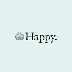 Cute hippo with crazy patterns next to the word happy on a pale green background vector illustration.
