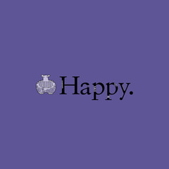 Cute hippo with crazy patterns next to the word happy on pantone purple background vector illustration.