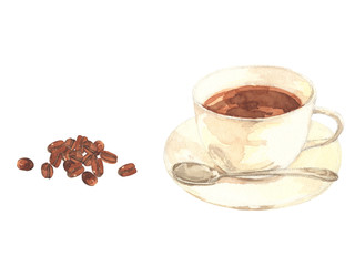 コーヒーとコーヒー豆 水彩