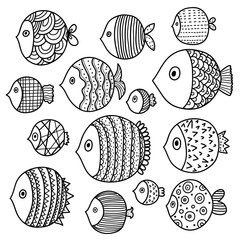Line set with cute ornamental fish.